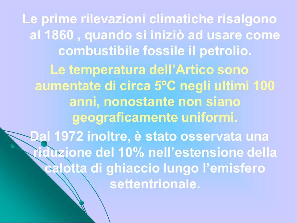 Le prime rilevazioni climatiche risalgono al 1860 , quando si iniziò ad usare come combustibile fossile il petrolio.