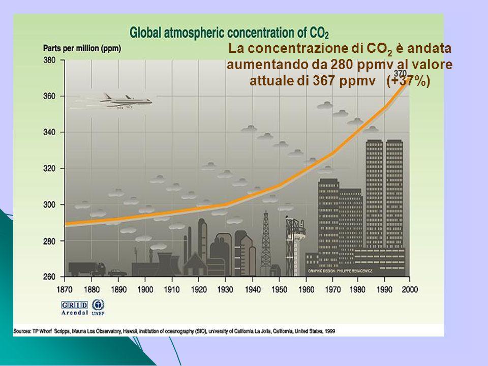 La concentrazione di CO2 è andata aumentando da 280 ppmv al valore attuale di 367 ppmv (+37%)