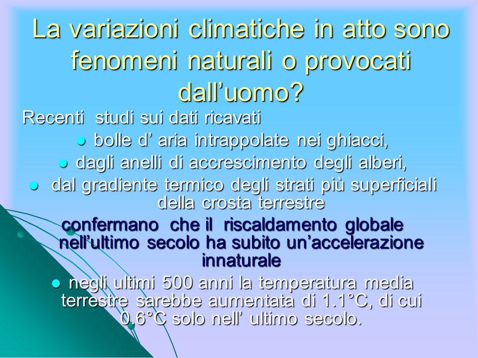 La variazioni climatiche in atto sono fenomeni naturali o provocati dall'uomo