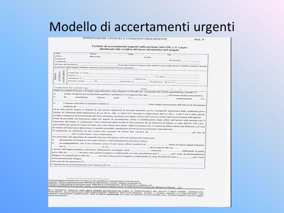 Modello di accertamenti urgenti