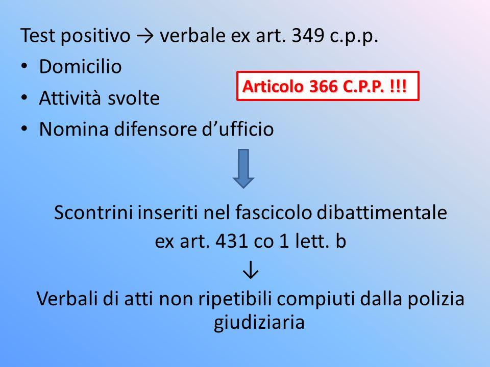 Test positivo → verbale ex art. 349 c.p.p. Domicilio Attività svolte