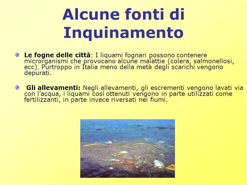 Alcune fonti di Inquinamento