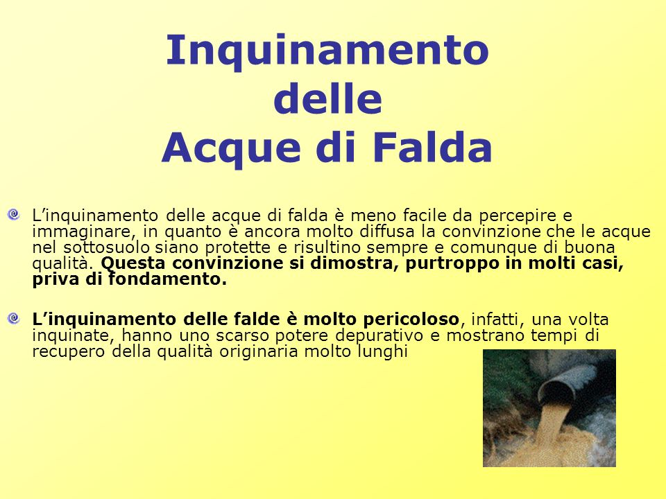 Inquinamento delle Acque di Falda