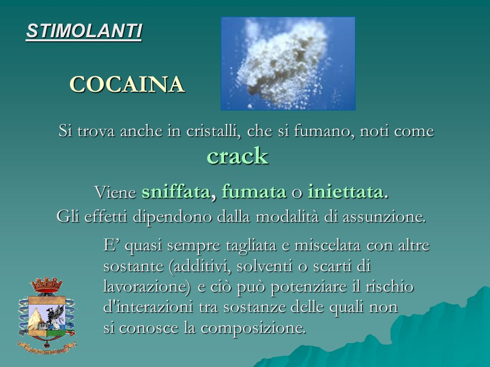 crack COCAINA STIMOLANTI