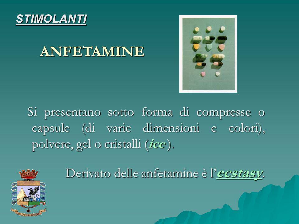 STIMOLANTI ANFETAMINE. Si presentano sotto forma di compresse o capsule (di varie dimensioni e colori), polvere, gel o cristalli (ice ).