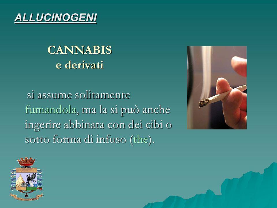 ALLUCINOGENI CANNABIS. e derivati.