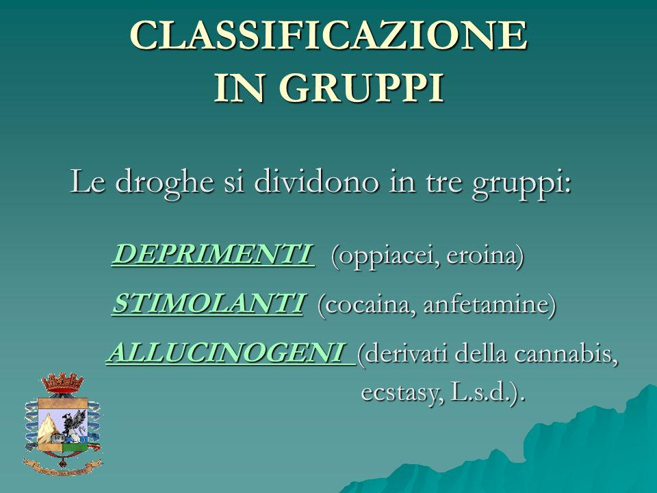 CLASSIFICAZIONE IN GRUPPI