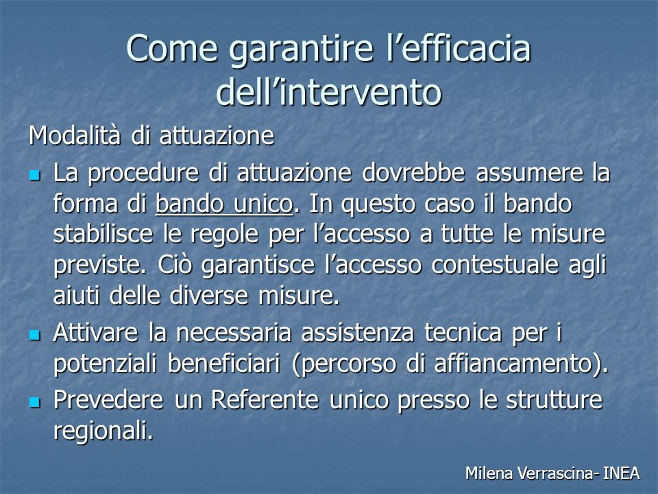 Come garantire l'efficacia dell'intervento
