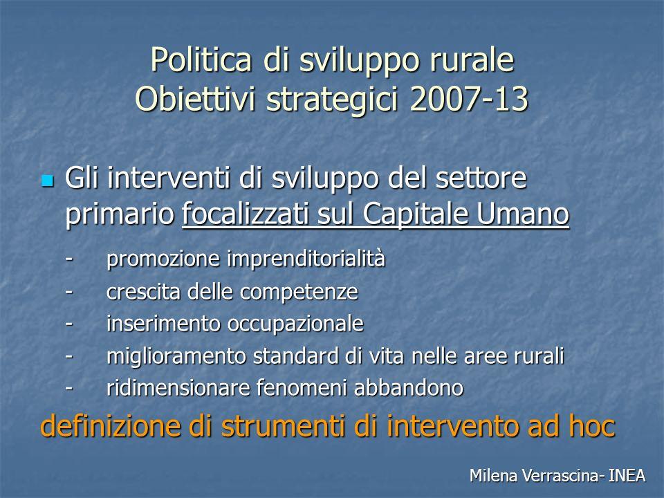 Politica di sviluppo rurale Obiettivi strategici 2007-13