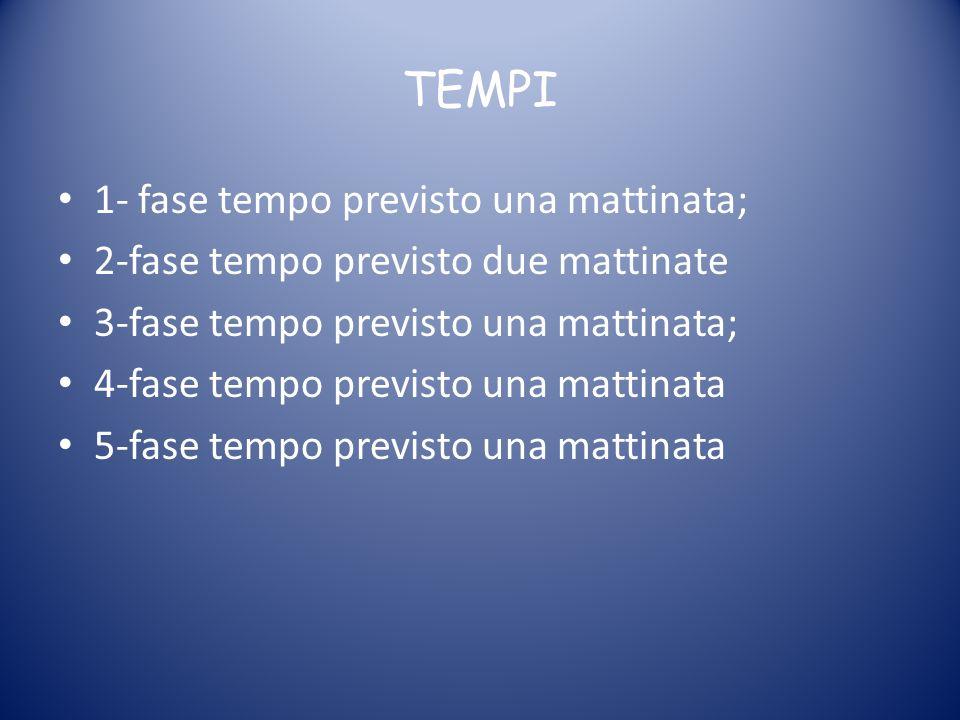 TEMPI 1- fase tempo previsto una mattinata;