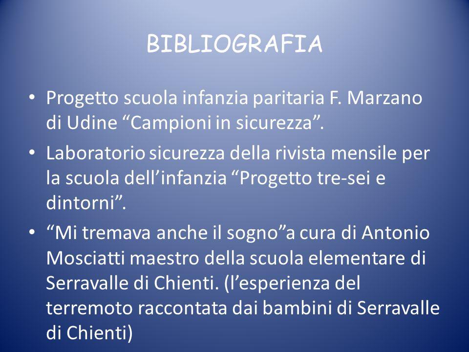 BIBLIOGRAFIA Progetto scuola infanzia paritaria F. Marzano di Udine Campioni in sicurezza .