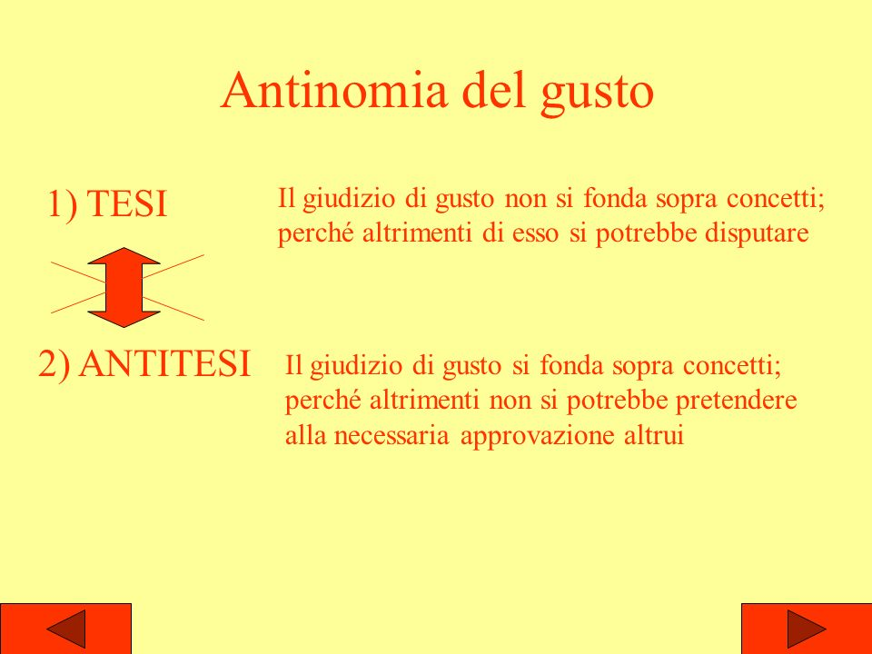 Antinomia del gusto 1) TESI 2) ANTITESI