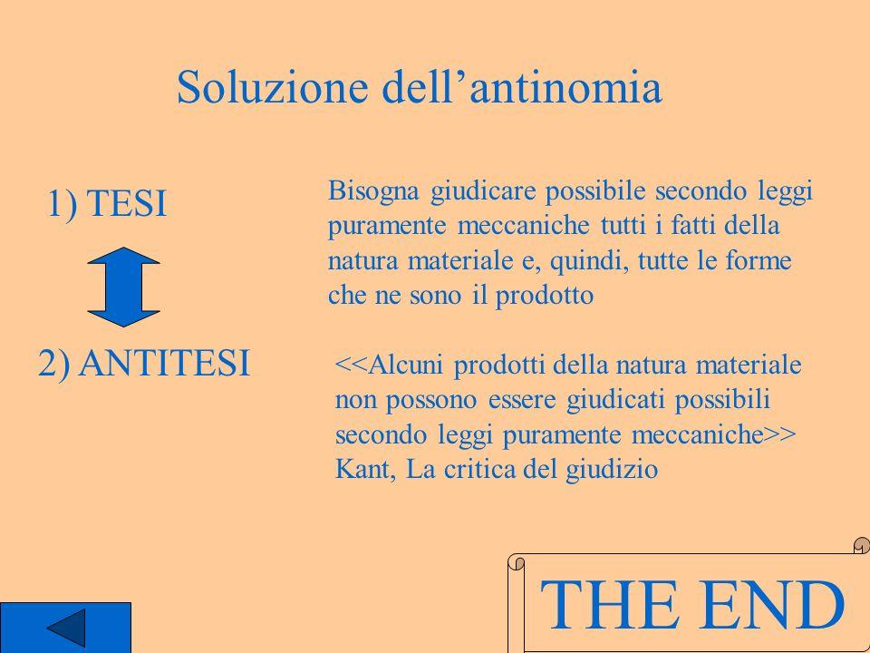 THE END Soluzione dell'antinomia 1) TESI 2) ANTITESI
