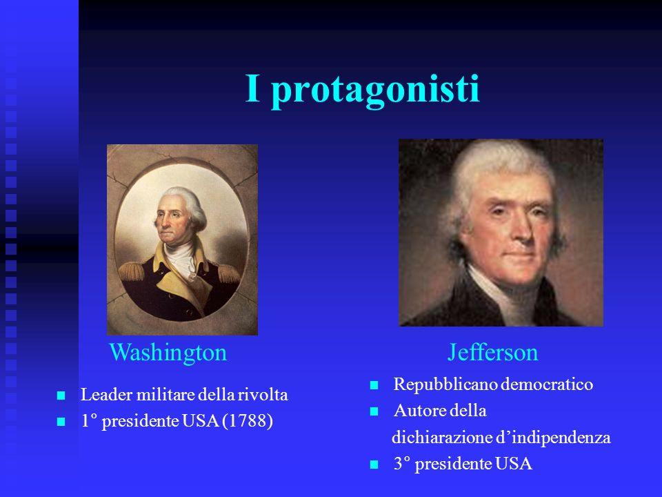 I protagonisti Washington Jefferson Repubblicano democratico