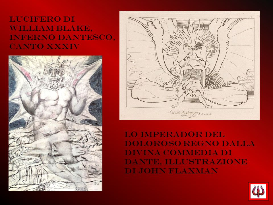 Lucifero di William Blake, Inferno dantesco, canto XXXIV