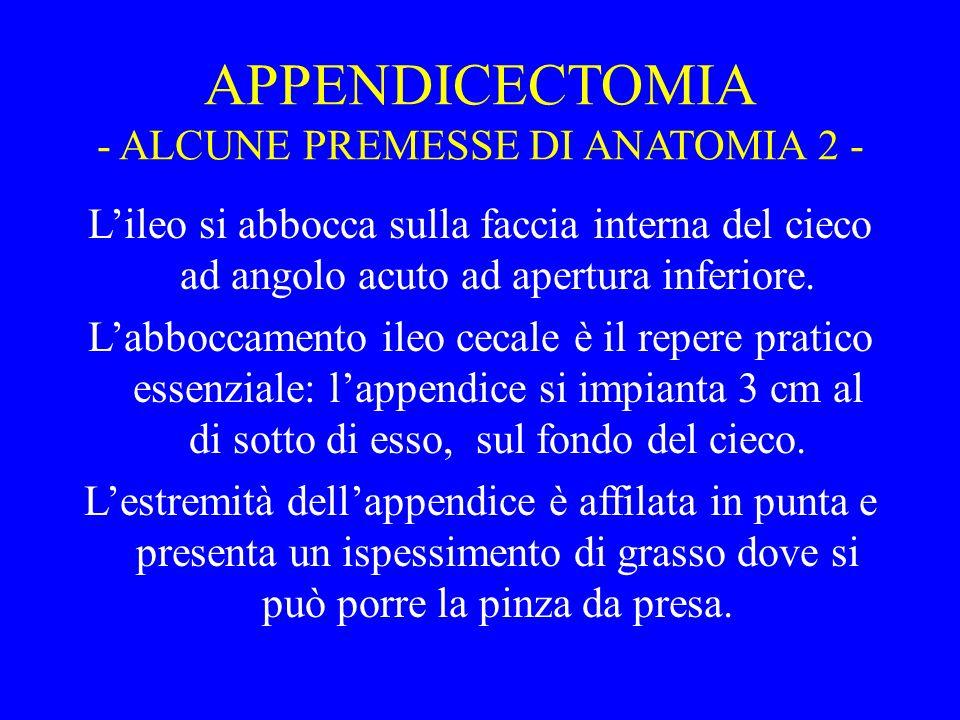 APPENDICECTOMIA - ALCUNE PREMESSE DI ANATOMIA 2 -