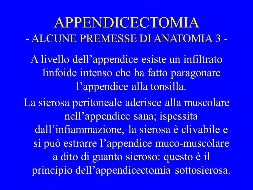 APPENDICECTOMIA - ALCUNE PREMESSE DI ANATOMIA 3 -