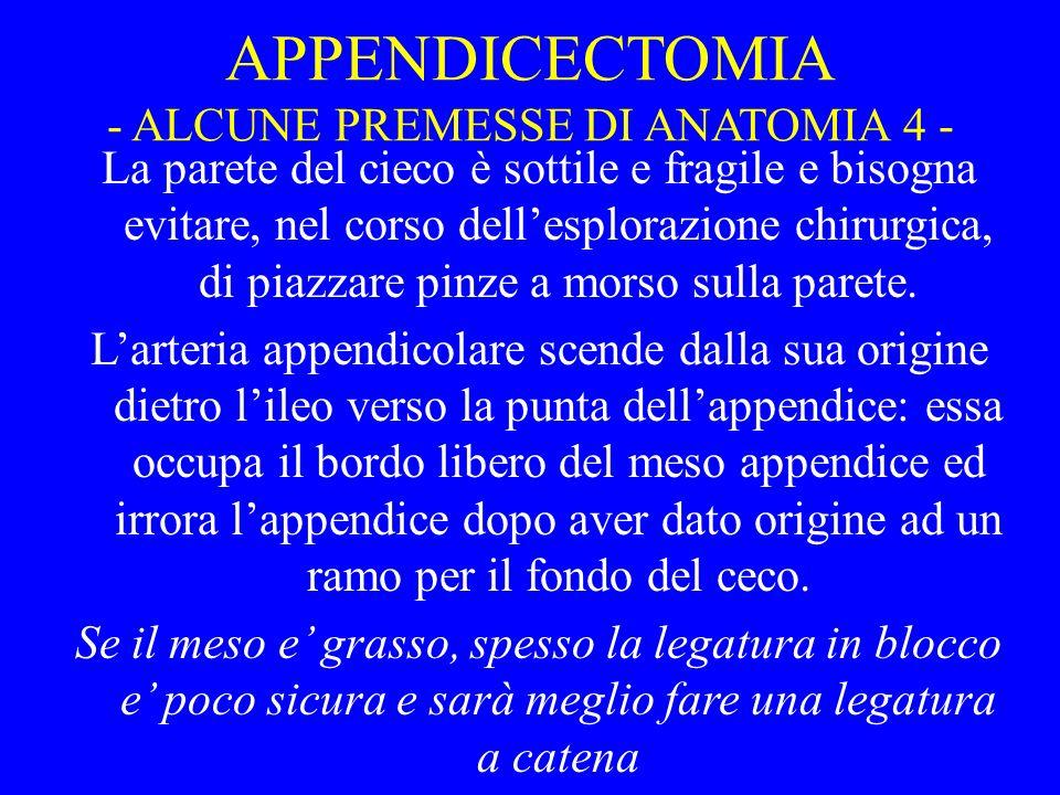 APPENDICECTOMIA - ALCUNE PREMESSE DI ANATOMIA 4 -
