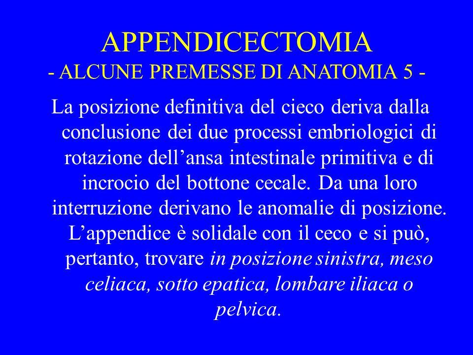 APPENDICECTOMIA - ALCUNE PREMESSE DI ANATOMIA 5 -