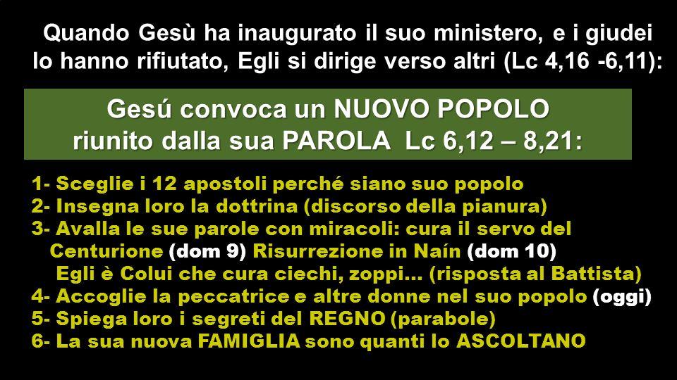 Gesú convoca un NUOVO POPOLO riunito dalla sua PAROLA Lc 6,12 – 8,21: