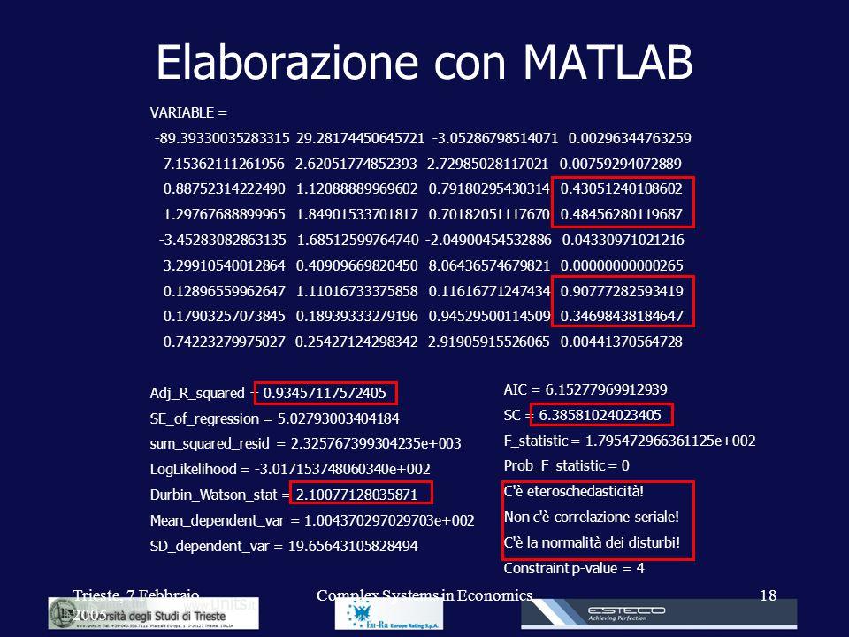 Elaborazione con MATLAB