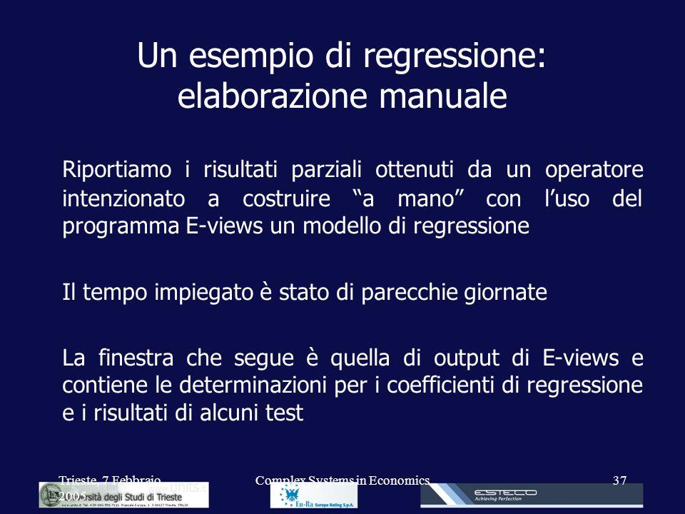 Un esempio di regressione: elaborazione manuale
