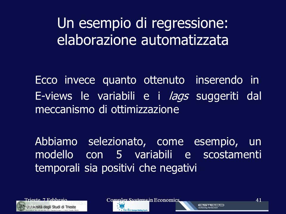 Un esempio di regressione: elaborazione automatizzata