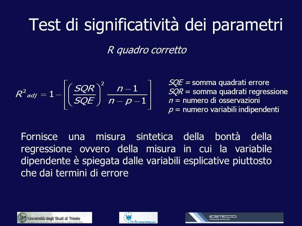 Test di significatività dei parametri