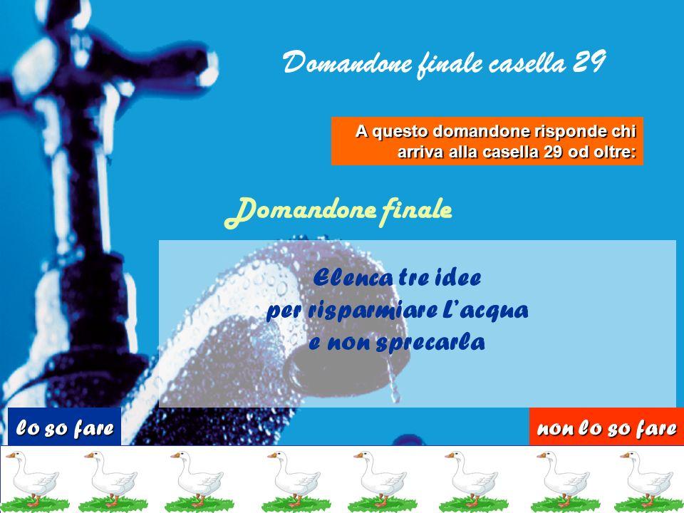 Domandone finale casella 29 per risparmiare L'acqua
