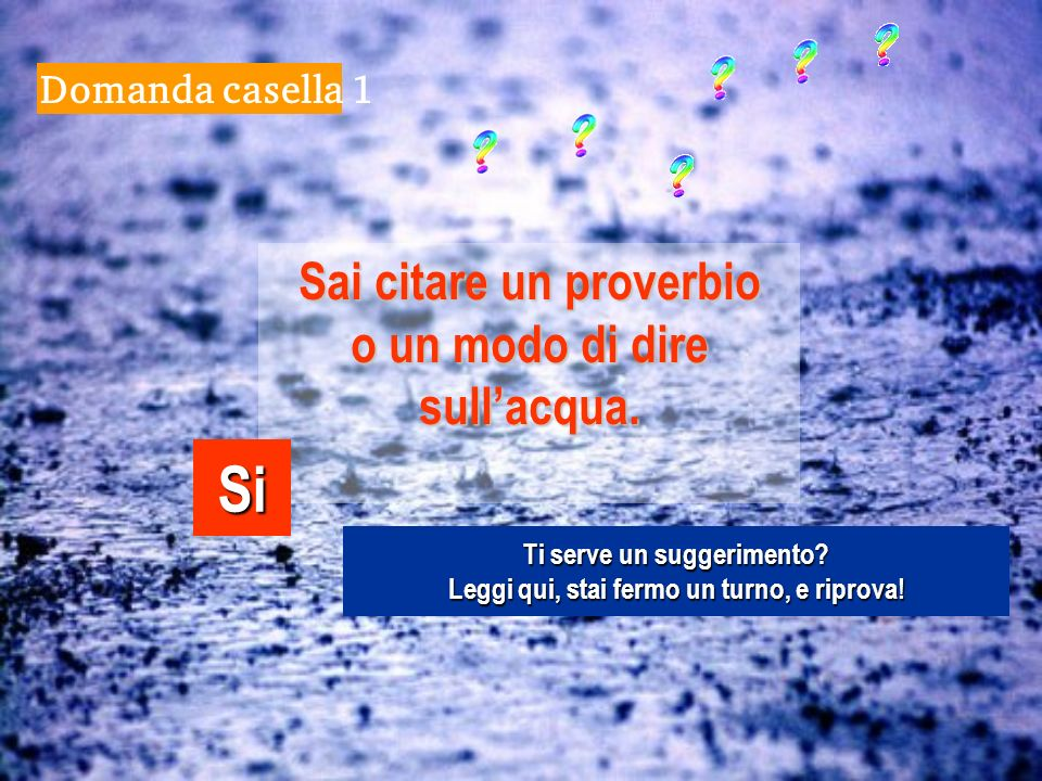 Si Sai citare un proverbio o un modo di dire sull'acqua.