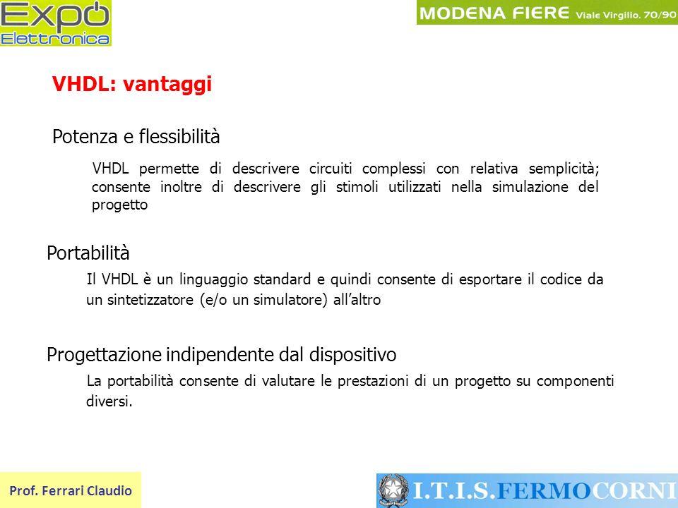 VHDL: vantaggi Potenza e flessibilità Portabilità