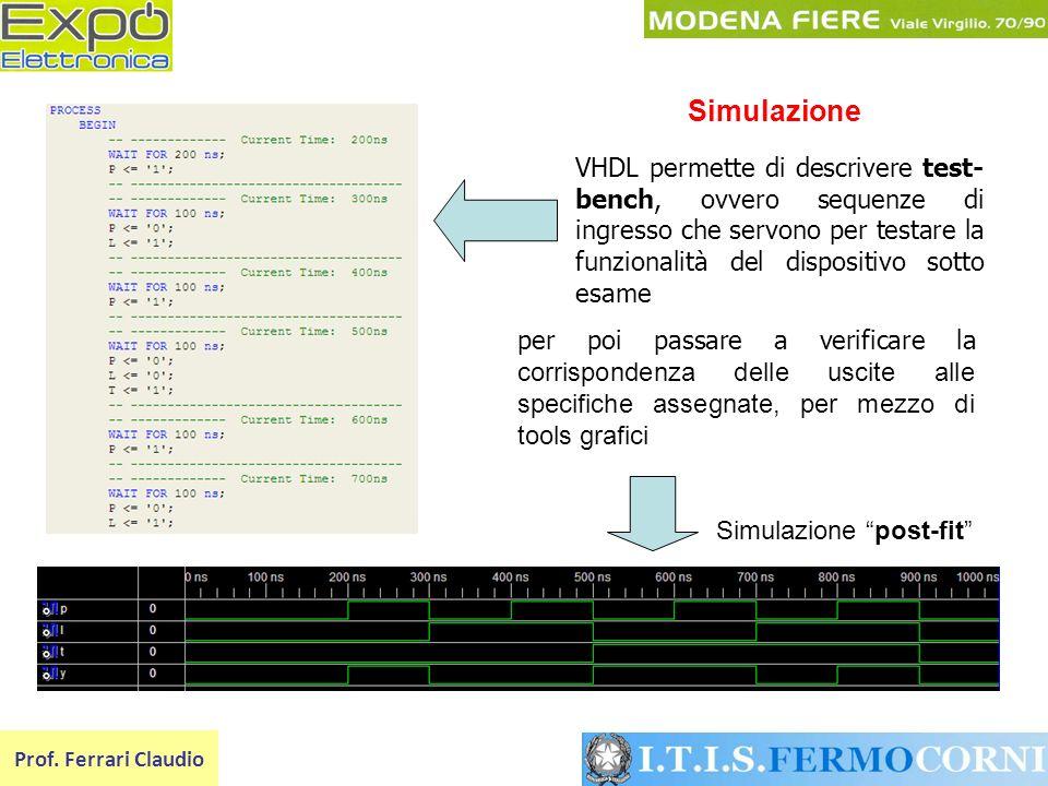 Simulazione VHDL permette di descrivere test-bench, ovvero sequenze di ingresso che servono per testare la funzionalità del dispositivo sotto esame.