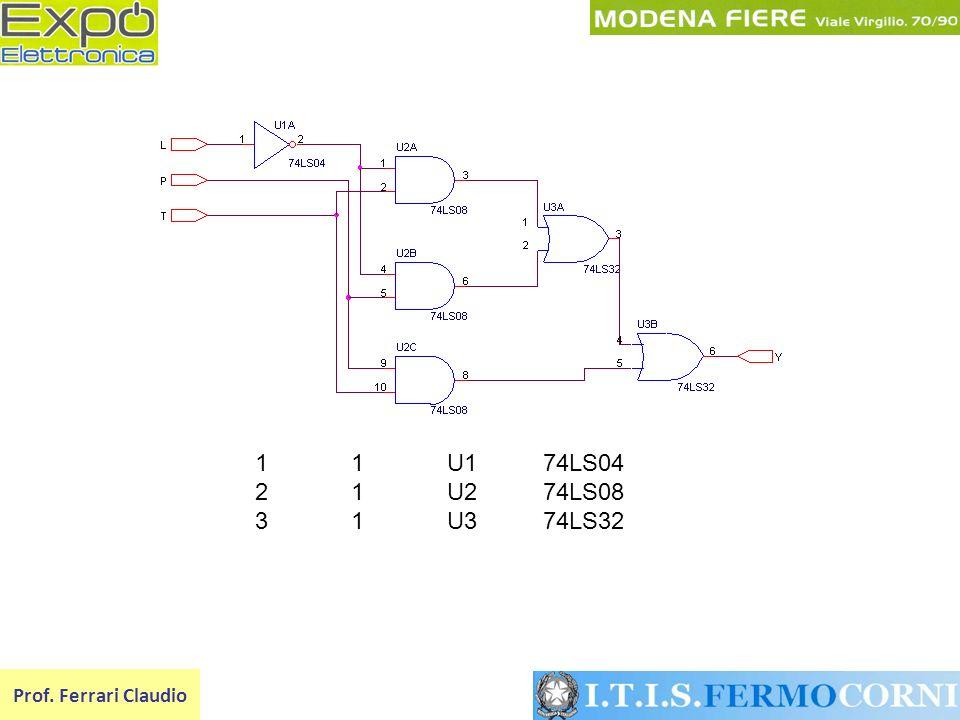 1 1 U1 74LS04 2 1 U2 74LS08 3 1 U3 74LS32 Prof. Ferrari Claudio
