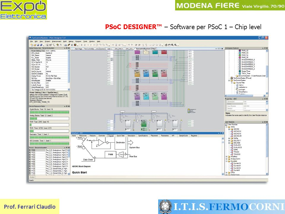 PSoC DESIGNER™ – Software per PSoC 1 – Chip level