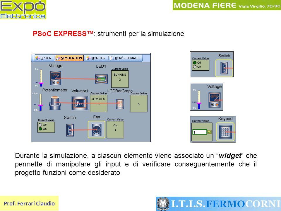 PSoC EXPRESS™: strumenti per la simulazione