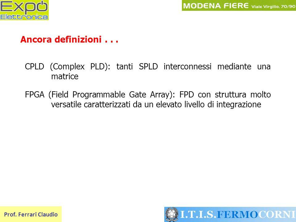 Ancora definizioni . . . CPLD (Complex PLD): tanti SPLD interconnessi mediante una matrice.
