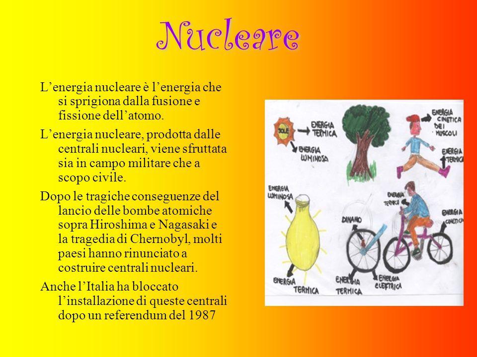 Nucleare L'energia nucleare è l'energia che si sprigiona dalla fusione e fissione dell'atomo.