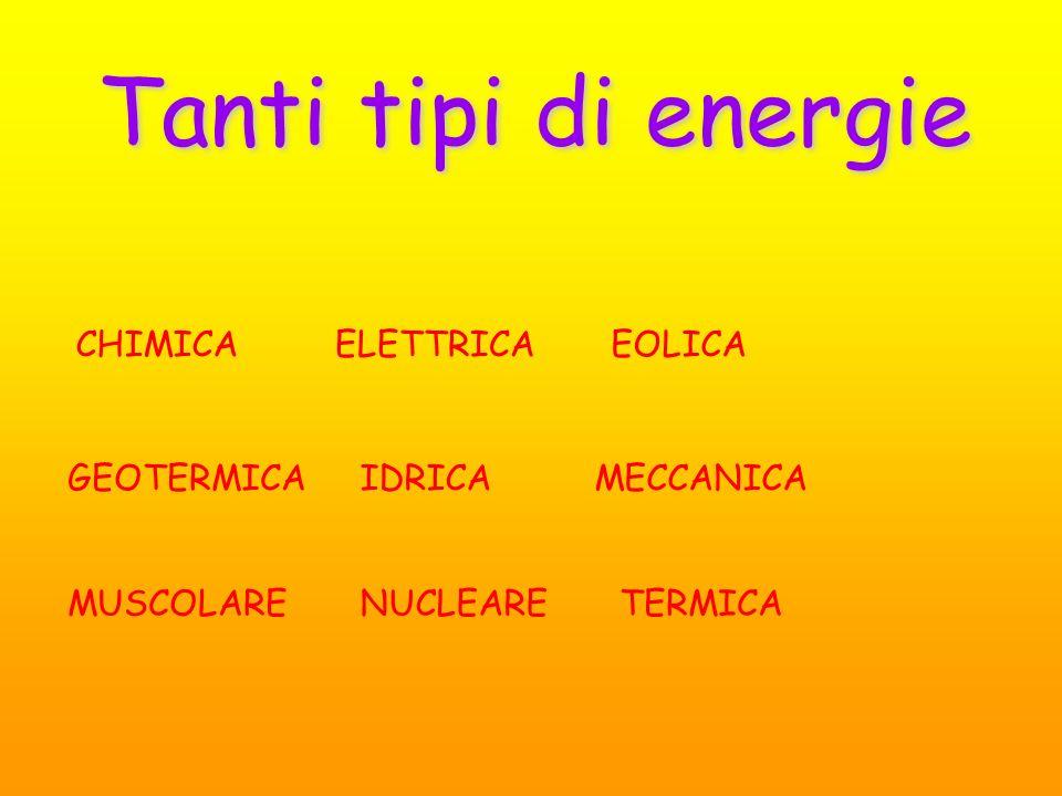 Tanti tipi di energie CHIMICA ELETTRICA EOLICA GEOTERMICA IDRICA