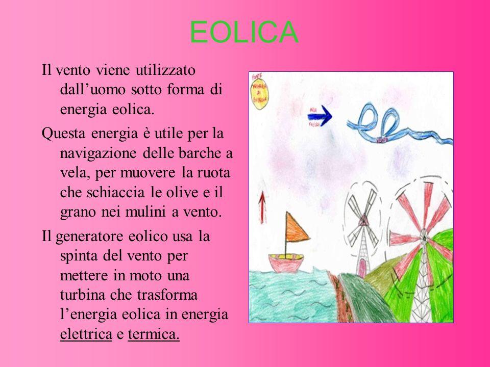 EOLICA Il vento viene utilizzato dall'uomo sotto forma di energia eolica.