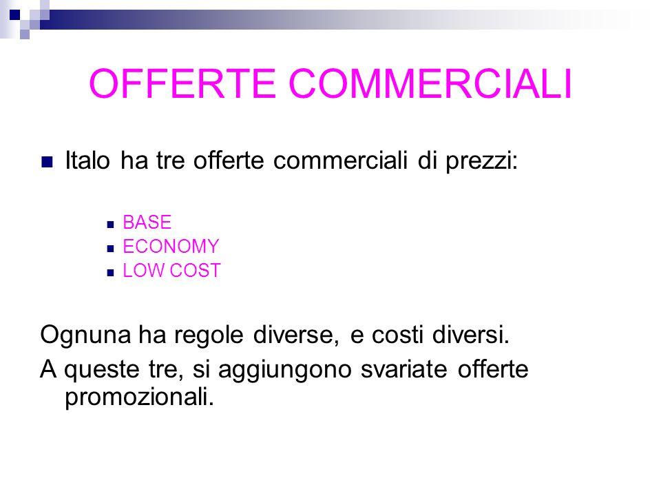 OFFERTE COMMERCIALI Italo ha tre offerte commerciali di prezzi: