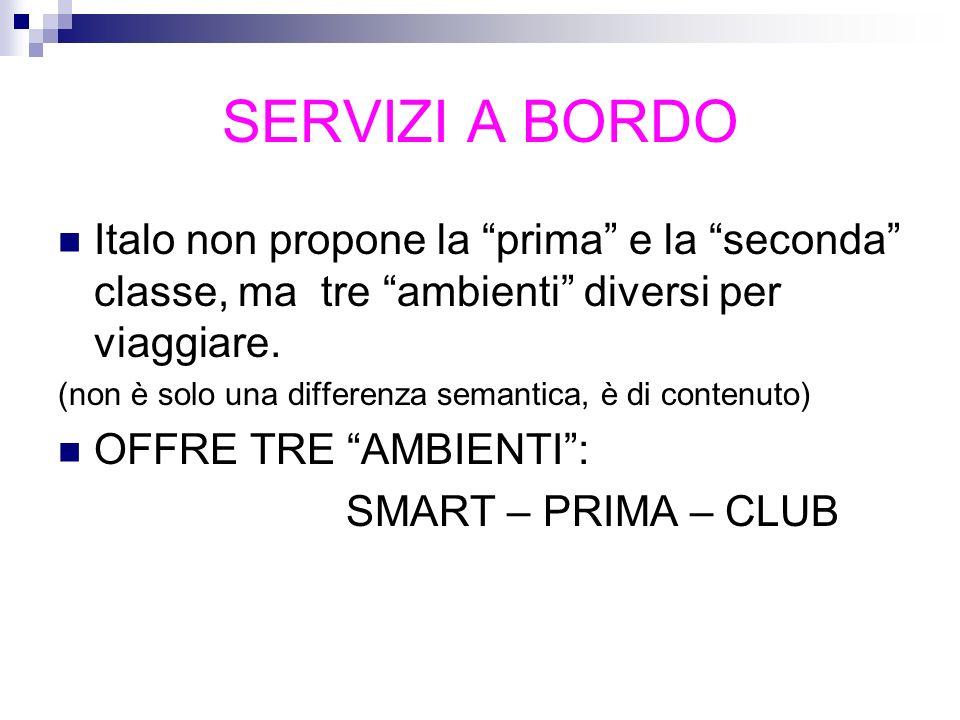 SERVIZI A BORDO Italo non propone la prima e la seconda classe, ma tre ambienti diversi per viaggiare.