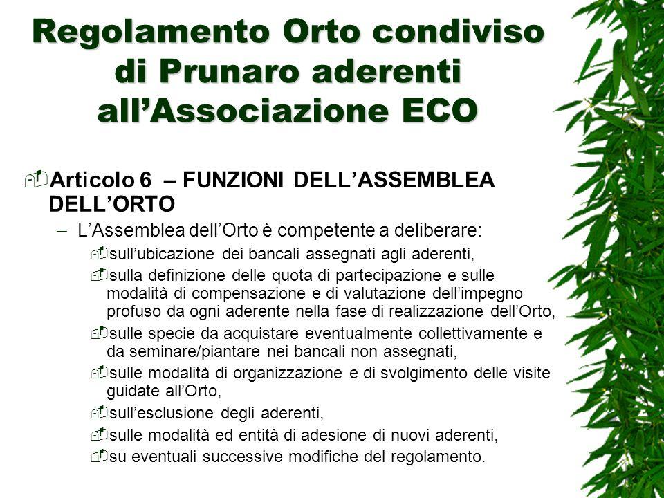 Regolamento Orto condiviso di Prunaro aderenti all'Associazione ECO