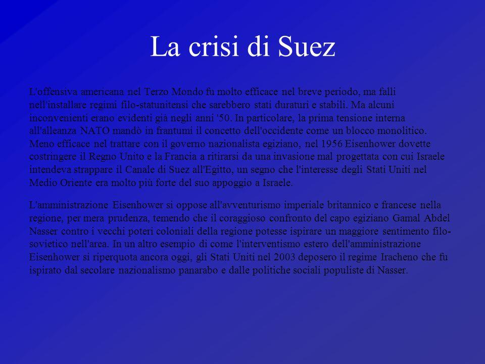 La crisi di Suez L offensiva americana nel Terzo Mondo fu molto efficace nel breve periodo, ma falli.