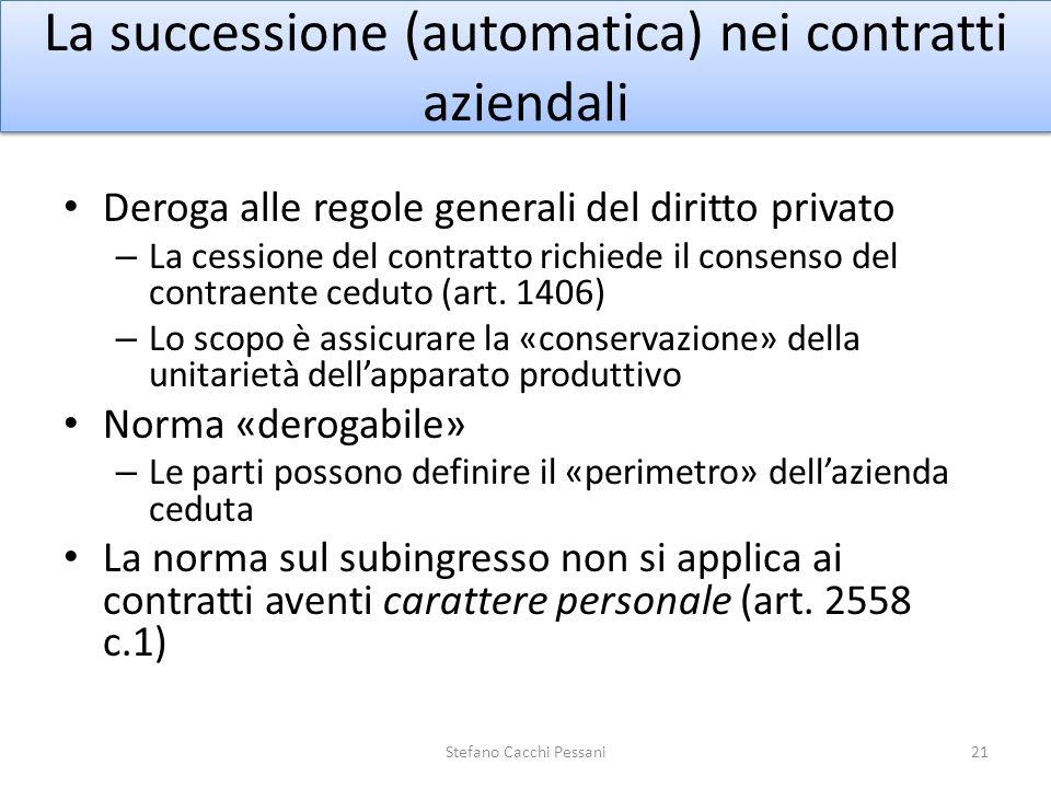 La successione (automatica) nei contratti aziendali