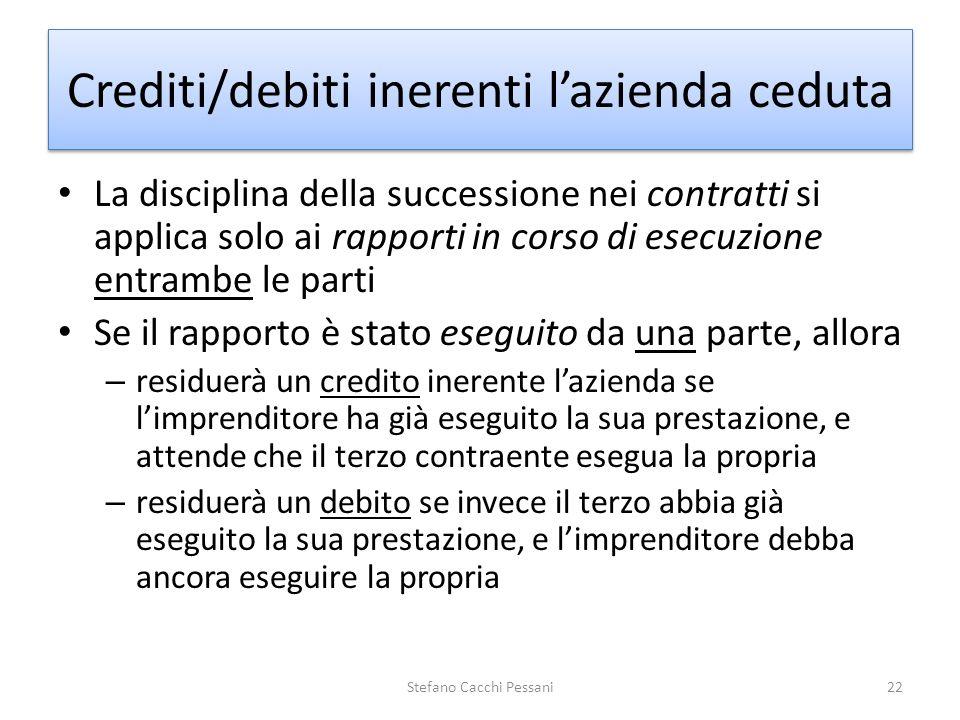 Crediti/debiti inerenti l'azienda ceduta