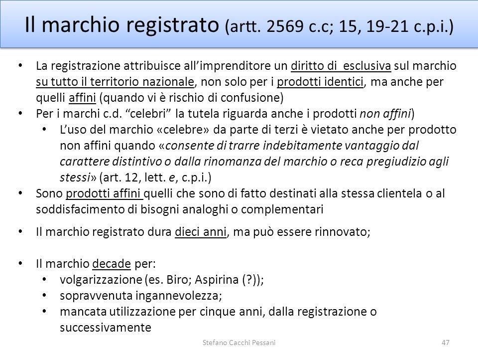 Il marchio registrato (artt. 2569 c.c; 15, 19-21 c.p.i.)