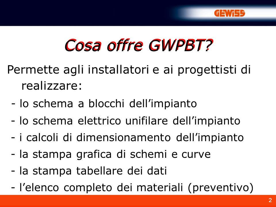Cosa offre GWPBT Permette agli installatori e ai progettisti di realizzare: - lo schema a blocchi dell'impianto.