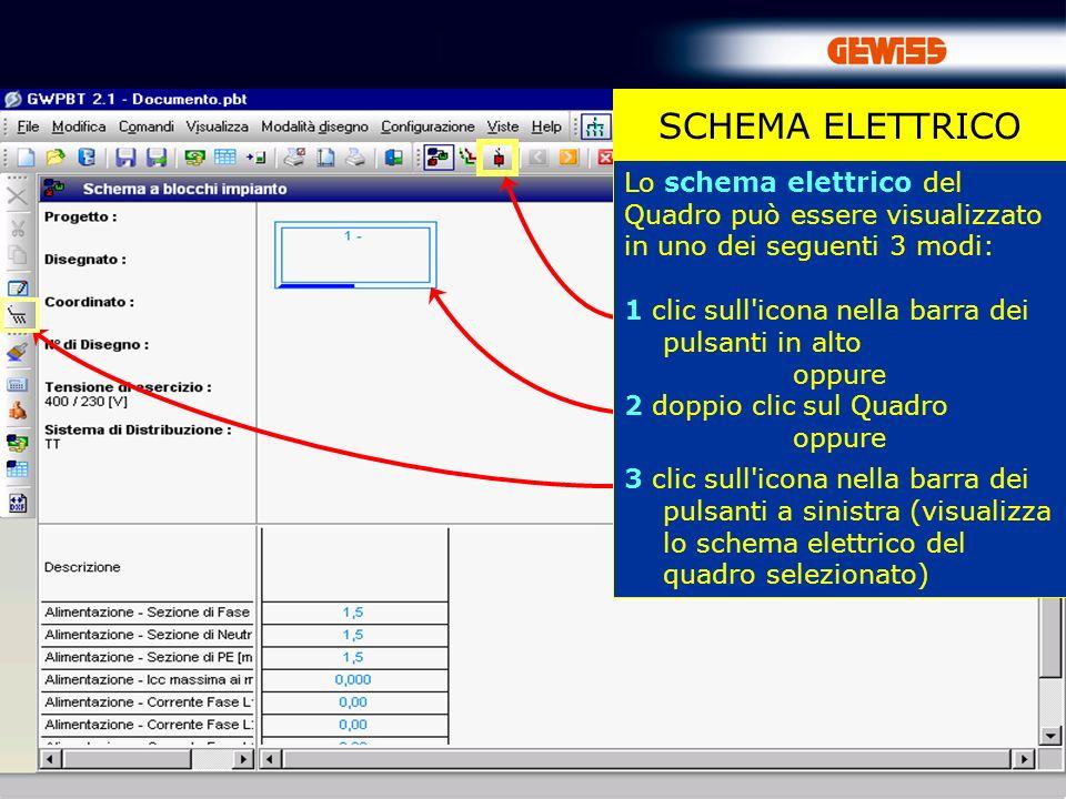 SCHEMA ELETTRICO Lo schema elettrico del Quadro può essere visualizzato in uno dei seguenti 3 modi: