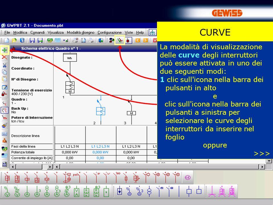 CURVE CURVE. La modalità di visualizzazione delle curve degli interruttori può essere attivata in uno dei due seguenti modi: