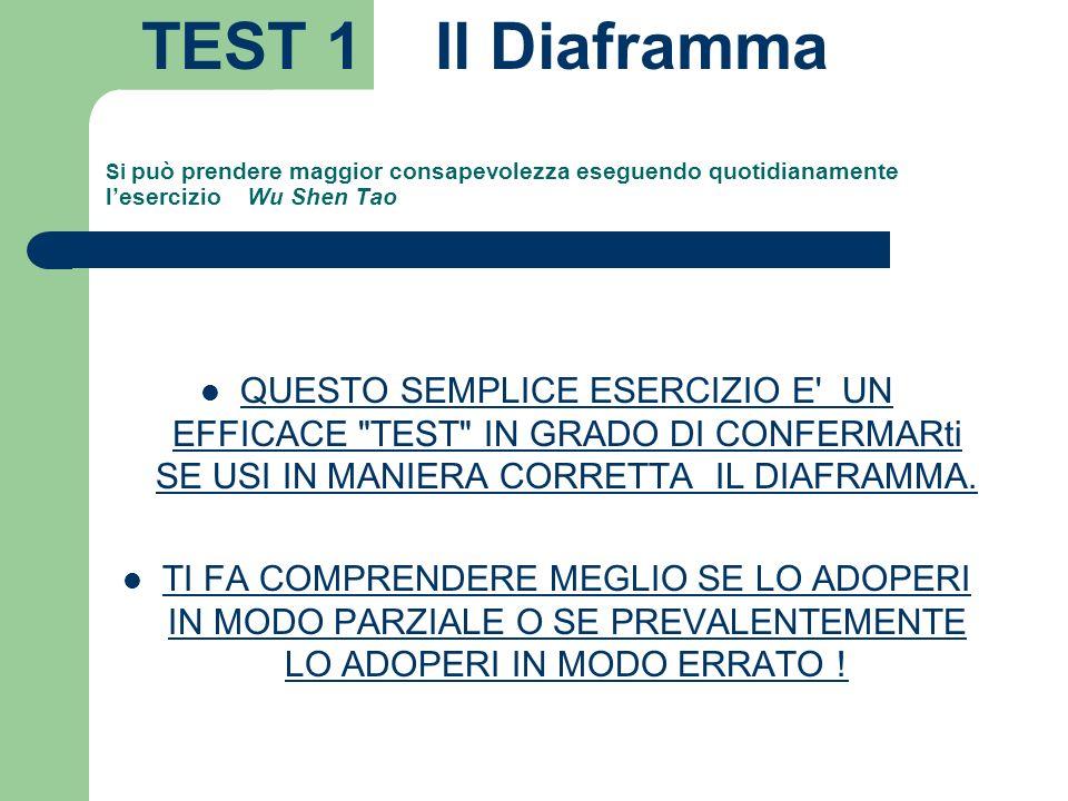 TEST 1 Il Diaframma Si può prendere maggior consapevolezza eseguendo quotidianamente l'esercizio Wu Shen Tao.
